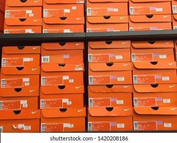 Pahang, Malaysia - June 4, 2019: A pile of Nike shoes box are on display for sale in Genting Premium Outlet