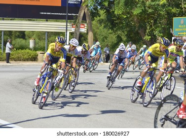 PAHANG, MALAYSIA - MARCH 5:Unidentified rider speeding for podium following the 7th stage of the Le Tour De Langkawi 2014 cycling race between Kota Tinggi and Pekan, Pahang, on March 5.