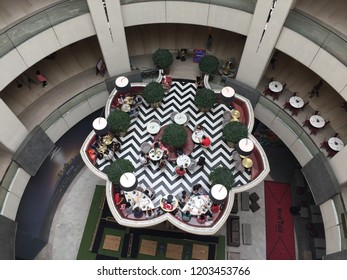 Pahang, Malaysia - October 8, 2018 : Top down view of a floating eatery at Genting Highlands