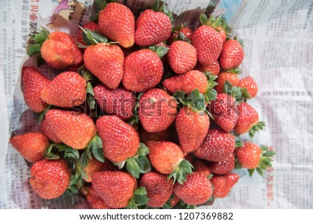 october 8 2018 bundle of fresh strawberry wrapped on newspaper