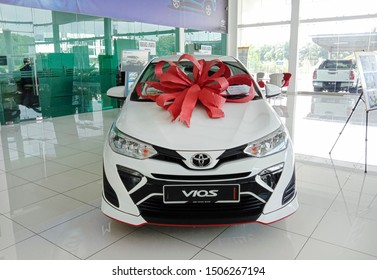 PAHANG, MALAYSIA - Sep 16: The TOYOTA All New Vios is on display at the toyota show room with display new shape and design for family car in 2019