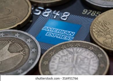 PAHANG , MALAYSIA - SEPTEMBER 15, 2015 - Illustrative Editorial,close up of credit cards ,american express logo with euro coins background, product shot