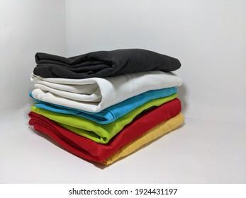 Pahang-25 Feb 2021 :  Colorful clothing folded untidy