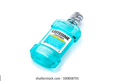PAHANG,MALAYSIA - OCTOBER 24TH, 2015: Listerine isolated on white background. Listerine is a brand of antiseptic mouthwash product.