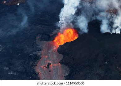 Pahoa, Hawaii, United States, June 5 2018: Aerial view of the volcanic eruption of volcano Kilauea, Fissure 8