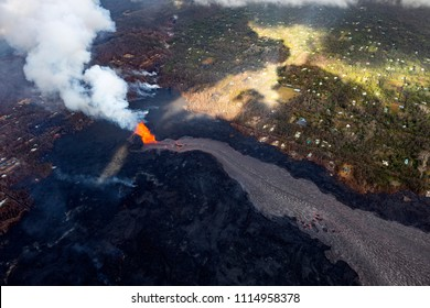 Pahoa, Hawaii, United States, June 5 2018: Aerial view of the eruption of the volcano Kilauea on Hawaii, in the picture Fissure 8
