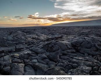 pahoehoe lava on the big island at sunset, Hawaii Kilauea