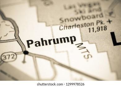 Pahrump. Nevada. USA on a map