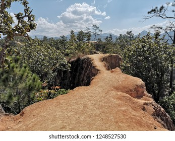 Pai Canyon wonderful scenic spot in Northern Thailand, Kong Lan panoramic view with narrow trail