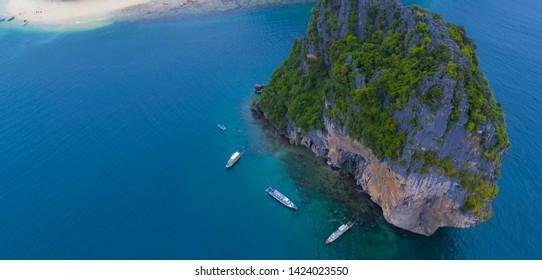 pai pai island thailand drone and river photo