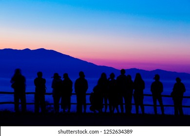 PAI MAE HONGSON THAILAND - Unidentified tourists awaiting sunrise on November 29 2018 at Yun Lai viewpoint Pai Mae Hongson Thailand. The Yun Lai viewpoint is favorite place to see sunrise and sea fog