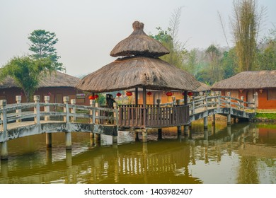Pai, Thailand - March 23, 2019: Santichon Chinese Village, Yunan Cultural Village. Typical tourists destination with tea and pork degustation in Mae Hong Son, North of Thailand.