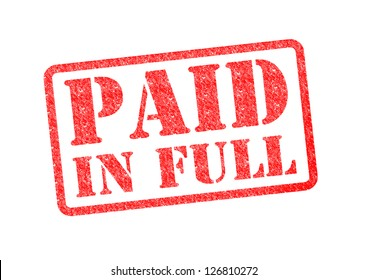 PAID IN FULL red rubber stamp over a white background.