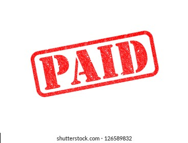 'PAID' Red Stamp over white background.