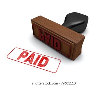 """""""PAID"""" Rubber stamp on a white background with the word """"PAID"""" stamped in red"""