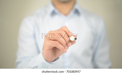 Paid Survey , man writing on transparent screen