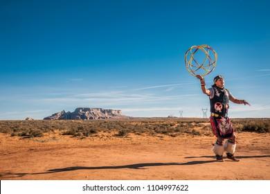 PAIGE, ARIZONA, USA - JANUARY 19, 2018: Navajo warrior performs raditional dance near Paige Arizona, USA.