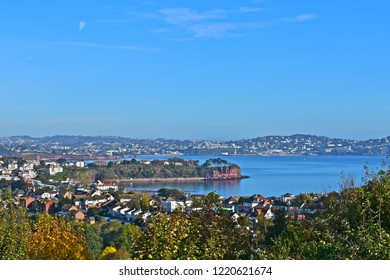 Paignton, Devon / England - 10/22/2018 : The panoramic view across Torbay from Beverley Park nr Goodrington towards Torquay in the distance.