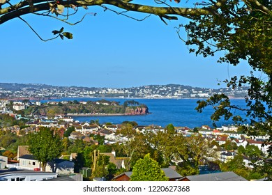 Paignton, Devon / England - 10/22/2018 : The panoramic view across Torbay from Goodrington towards Torquay in the distance.