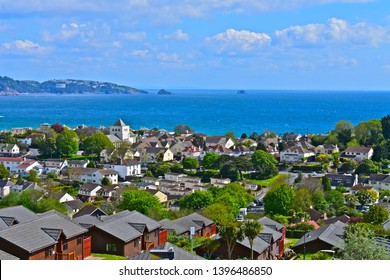 Paignton, Devon / England - 5/4/2019: Panoramic views across Torbay from Goodrington in the foreground,to Torquay in the distance.