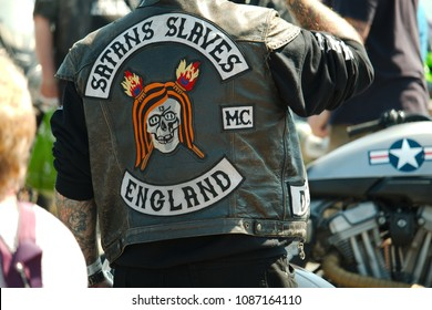 Paignton, Devon, UK - 5th May 2018: Satan's Slaves member at BMAD (Bikers Make A Difference) the biggest annual charity biker weekend event in the South West UK.