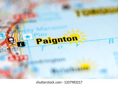 Paignton. United Kingdom on a geography map