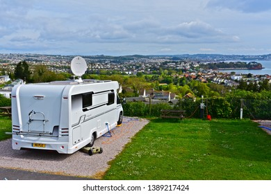 Paignton,Devon / England - 5/3/2019: A modern motorhome on a fully serviced hard-standing pitch with stunning views across Torbay towards Torquay.