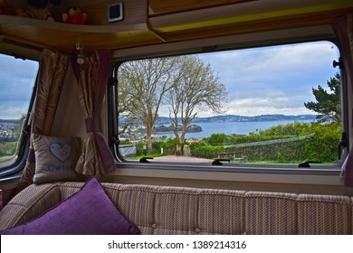 Paignton,Devon / England - 5/3/2019: Stunning view from window of modern touring caravan across Torbay to Torquay. Beverley Park Campsite near Paignton. A room with a view!!