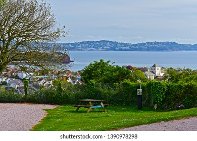 Paignton,Devon / England - 5/3/2019: Typical hardstanding pitches at Beverley Park Holiday Park near Paignton, with glorious views over Torbay towards Torquay.