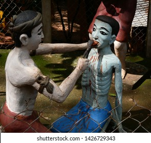 Pailin, Cambodia. 30-11-2018. A tableau of torture and torment depicts what wrongdoers can expect when they are sent to Buddhist Hell or Naraka. In the grounds of Wat Yat.