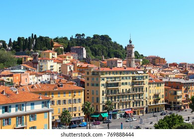 Paillon promenade and Castle hill in the old town of Nice, France