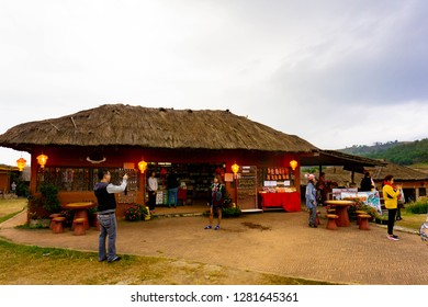 PAI,MAE HONG SON,THAILAND- DECEMBER 30,2018 : Many tourists Visit the  Pai Chinese Village in New Year Festival 2019  At Santichon Village,Pai District, Mae Hong Son Province, Thailand.