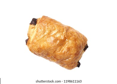 pain au chocolat or chocolate croissant is a type of viennoiserie sweet roll made from puff pastry filled with dark chocolate