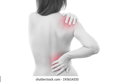 Pain in a body of the woman. Backache. Isolated on white background. Red dot