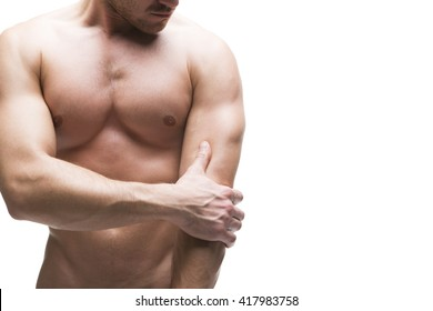 Pain in the elbow. Muscular male body isolated on white background with copy space
