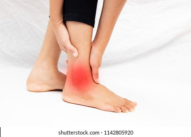 Pain in the foot of the elderly.Symptoms of peripheral neuropathy.Most symptoms are numbness in the fingertips and foot isolate on white background .