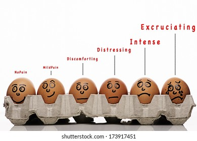 Pain intensity scale concept with text funny and eggs characters over white background