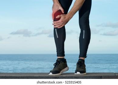 Pain in knee injury of sportsman
