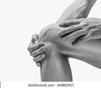 Pain in the knee joint. Monochrome image, isolated on a white background