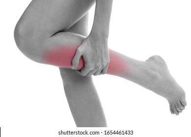 Pain in leg. Isolated on white background