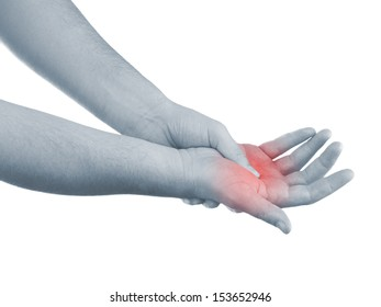 Pain in a man palm. Male holding hand to spot of palm-ache.