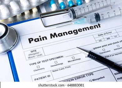 Pain Management Medical Concept doctor hand working