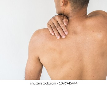 Pain in the neck. Man with backache. Isolated on white background. healthy concept.
