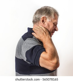 pain in the neck.adult man. isolated