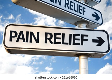 Pain Relief direction sign on sky background