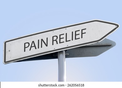 PAIN RELIEF word on road sign