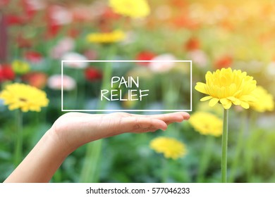 Pain Relief word on the white box. concept hand with natural background