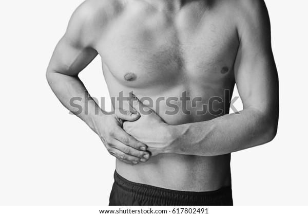 Pain Right Side Male Abdomen Monochrome Stock Photo (Edit