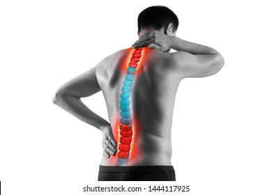 Pain in the spine, man with backache, sciatica and scoliosis isolated on white background, chiropractor treatment concept, photo with highlighted skeleton