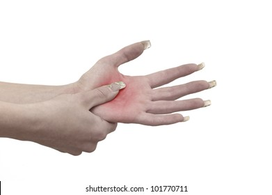 Pain in a woman palm